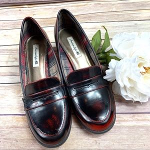 American Eagle Brown Patent Leather Penny Loafers